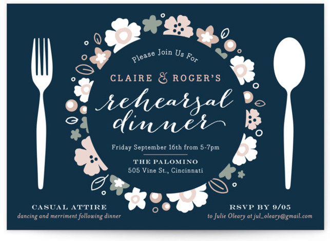 This is a landscape floral, blue Rehearsal Dinner Invitations by Carrie ONeal called Pretty Plate with Standard printing on Signature in Classic Flat Card format. A flower adorned place setting is the perfect way to invite friends and family to ...