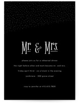 This is a black rehearsal dinner invitation by Roxy Cervantes called Night Sky with standard printing on signature in standard.