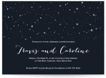 This is a black rehearsal dinner invitation by Sara Showalter called Under the Stars with standard printing on signature in standard.