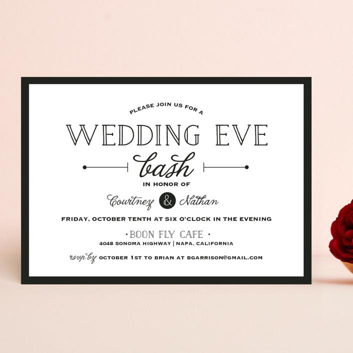"""Wedding Eve Bash"" - Bold typographic, Modern Rehearsal Dinner Invitations in Tuxedo by Kaydi Bishop."