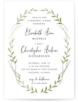 This is a black and white rehearsal dinner invitation by Lehan Veenker called Delicate Wreath with standard printing on signature in standard.