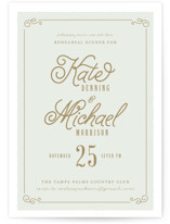 This is a green rehearsal dinner invitation by Lori Wemple called Chateau with standard printing on signature in standard.