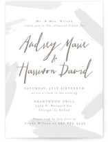 This is a grey rehearsal dinner invitation by Melissa Egan of Pistols called Subtle Brushstrokes with standard printing on signature in standard.