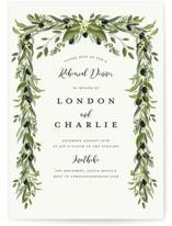 This is a green rehearsal dinner invitation by Susan Moyal called Olive Vine with standard printing on signature in standard.