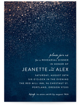 This is a blue rehearsal dinner invitation by Hooray Creative called Star Dust with standard printing on signature in standard.