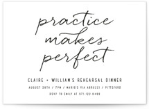 This is a black rehearsal dinner invitation by Up Up Creative called Perfect Practice with standard printing on signature in standard.