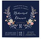 This is a blue rehearsal dinner invitation by Alethea and Ruth called Wildflower Crest with standard printing on signature in standard.
