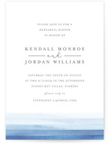 This is a blue rehearsal dinner invitation by Bethan called Watercolour Stripe with standard printing on signature in standard.