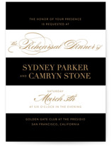 This is a black rehearsal dinner invitation by Jill Means called Fashion District with standard printing on signature in standard.