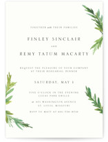 This is a white rehearsal dinner invitation by Mere Paper called Simple Pine Branches with standard printing on signature in standard.