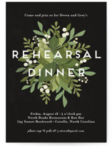 This is a black rehearsal dinner invitation by Jennifer Wick called Laurel of Greens with standard printing on signature in standard.