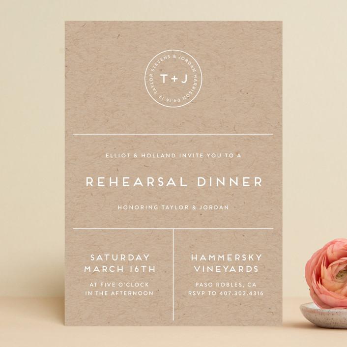 Modern Stamp Rehearsal Dinner Invitation