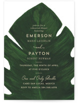 This is a white rehearsal dinner invitation by Kaydi Bishop called Palm with standard printing on signature in standard.