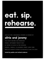 This is a black rehearsal dinner invitation by Jennifer Lew called Refreshments with standard printing on signature in standard.