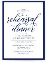 This is a blue rehearsal dinner invitation by Laura Hamm called Modern Classic with standard printing on signature in standard.