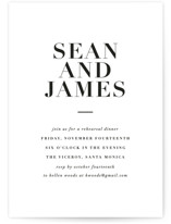 This is a black and white rehearsal dinner invitation by Roxy Cervantes called Simply Classic with standard printing on signature in standard.