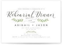 This is a green rehearsal dinner invitation by SunnyJuly called Le Grange with standard printing on signature in standard.
