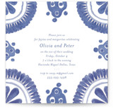 This is a blue rehearsal dinner invitation by Lagniappe Paper called Talavera with standard printing on signature in standard.