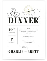 This is a white rehearsal dinner invitation by fatfatin called A Classic Destination with standard printing on signature in standard.