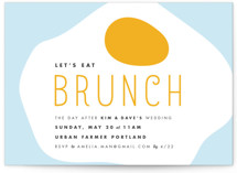 This is a blue rehearsal dinner invitation by merry mack creative called Let's Eat Brunch with standard printing on signature in standard.