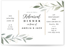 This is a green rehearsal dinner invitation by Alethea and Ruth called Olive Branch Framed with standard printing on signature in standard.