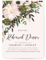 This is a pink rehearsal dinner invitation by Susan Moyal called Figs & Flowers with standard printing on signature in standard.
