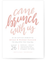This is a pink rehearsal dinner invitation by Lea Delaveris called Come brunch with us with standard printing on signature in standard.