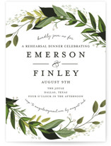 This is a green rehearsal dinner invitation by Susan Moyal called Vines of Green with standard printing on signature in standard.
