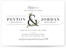 This is a white rehearsal dinner invitation by Jennifer Postorino called Adorned Ampersand with standard printing on signature in standard.