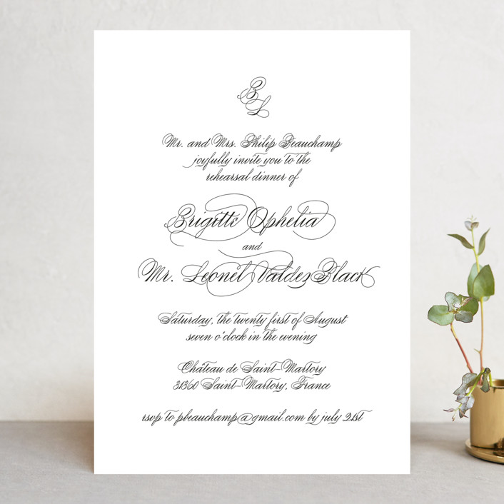 One and Only Rehearsal Dinner Invitation
