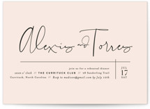 This is a pink rehearsal dinner invitation by Jennifer Wick called Just the Two of Us with standard printing on signature in standard.