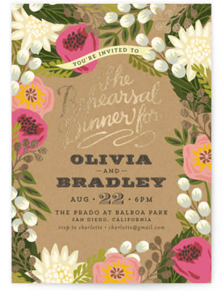 Floral Canopy Foil-Pressed Rehearsal Dinner Invitations