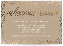 This is a brown rehearsal dinner invitation by Saltwater Designs called Starlight with foil-pressed printing on signature in standard.
