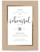 This is a brown rehearsal dinner invitation by Michelle Taylor called Gilded Edge with foil-pressed printing on signature in standard.