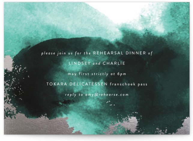 This is a green Rehearsal Dinner Invitations by Phrosne Ras called purple fantasy with Foil Pressed printing on Signature in Classic Flat Card format. A watercolor texture design with rich purples and rose gold foil