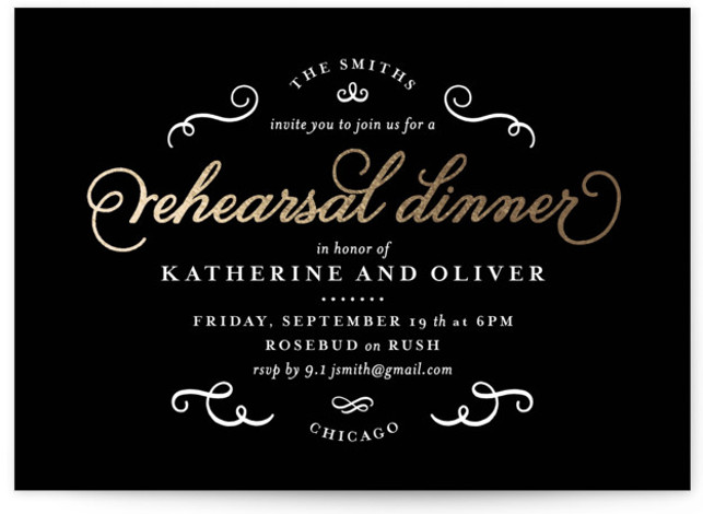 This is a landscape classic, elegant, black Rehearsal Dinner Invitations by lena barakat called Grace with Foil Pressed printing on Signature in Classic Flat Card format. Add shine to your big event with our unique foil pressed wedding party invitations. ...