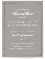 This is a grey rehearsal dinner invitation by Carly Reed Walker called Framed Elegance with foil-pressed printing on signature in standard.