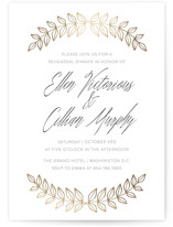This is a gold rehearsal dinner invitation by Grace Cobb called Golden Laurel with foil-pressed printing on signature in standard.