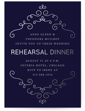 This is a portrait elegant, blue, silver Rehearsal Dinner Invitations by Holly Whitcomb called Chateau Frame with Foil Pressed printing on Signature in Classic Flat Card format. This elegant rehearsal dinner invitation features faux foil details on a dark background. ...