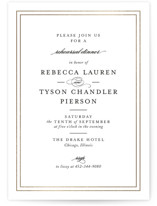 This is a black rehearsal dinner invitation by Kimberly FitzSimons called Eloquence with foil-pressed printing on signature in standard.
