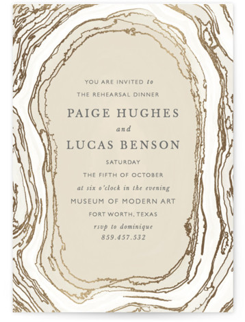 This is a portrait bohemian, rustic, beige, brown, gold Rehearsal Dinner Invitations by Kaydi Bishop called Gilt Agate with Foil Pressed printing on Signature in Classic Flat Card format. A classic watercolor take on chic geodes serves as the background ...