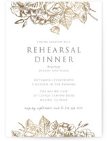 This is a gold rehearsal dinner invitation by Smudge Design called Gilded Wildflowers with foil-pressed printing on signature in standard.
