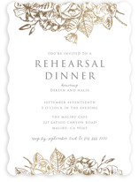 This is a gold rehearsal dinner invitation by Rochelle Renee called Gilded Wildflowers with foil-pressed printing on signature in standard.