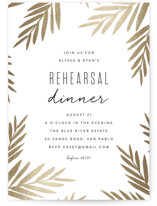 This is a gold rehearsal dinner invitation by Angela Thompson called Oasis with foil-pressed printing on signature in standard.