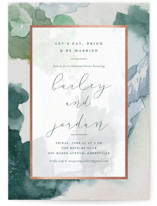 This is a green rehearsal dinner invitation by Stacey Meacham called Lush land with foil-pressed printing on signature in standard.
