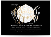 This is a black rehearsal dinner invitation by Laura Bolter Design called The Table is Set with foil-pressed printing on signature in standard.