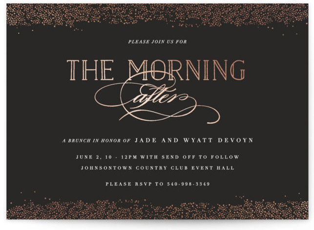 This is a black, rosegold Rehearsal Dinner Invitations by Bethany Anderson called Morning After with Foil Pressed printing on Signature in Classic Flat Card format. This elegant Brunch invitation boasts lovely type and gold accents.