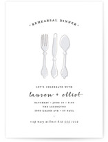 This is a blue rehearsal dinner invitation by Susan Brown called Dinner First with foil-pressed printing on signature in standard.
