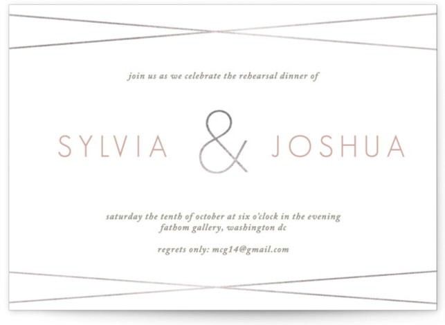 This is a pink, silver Rehearsal Dinner Invitations by amanda cunningham called Borderline with Foil Pressed printing on Signature in Classic Flat Card format. A clean, elegant party invitation for the modern, minimalist couple