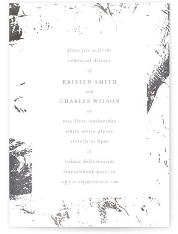 This is a grey, silver Rehearsal Dinner Invitations by Phrosne Ras called simple marble with Foil Pressed printing on Signature in Classic Flat Card format. A simple marble design in rose gold foil